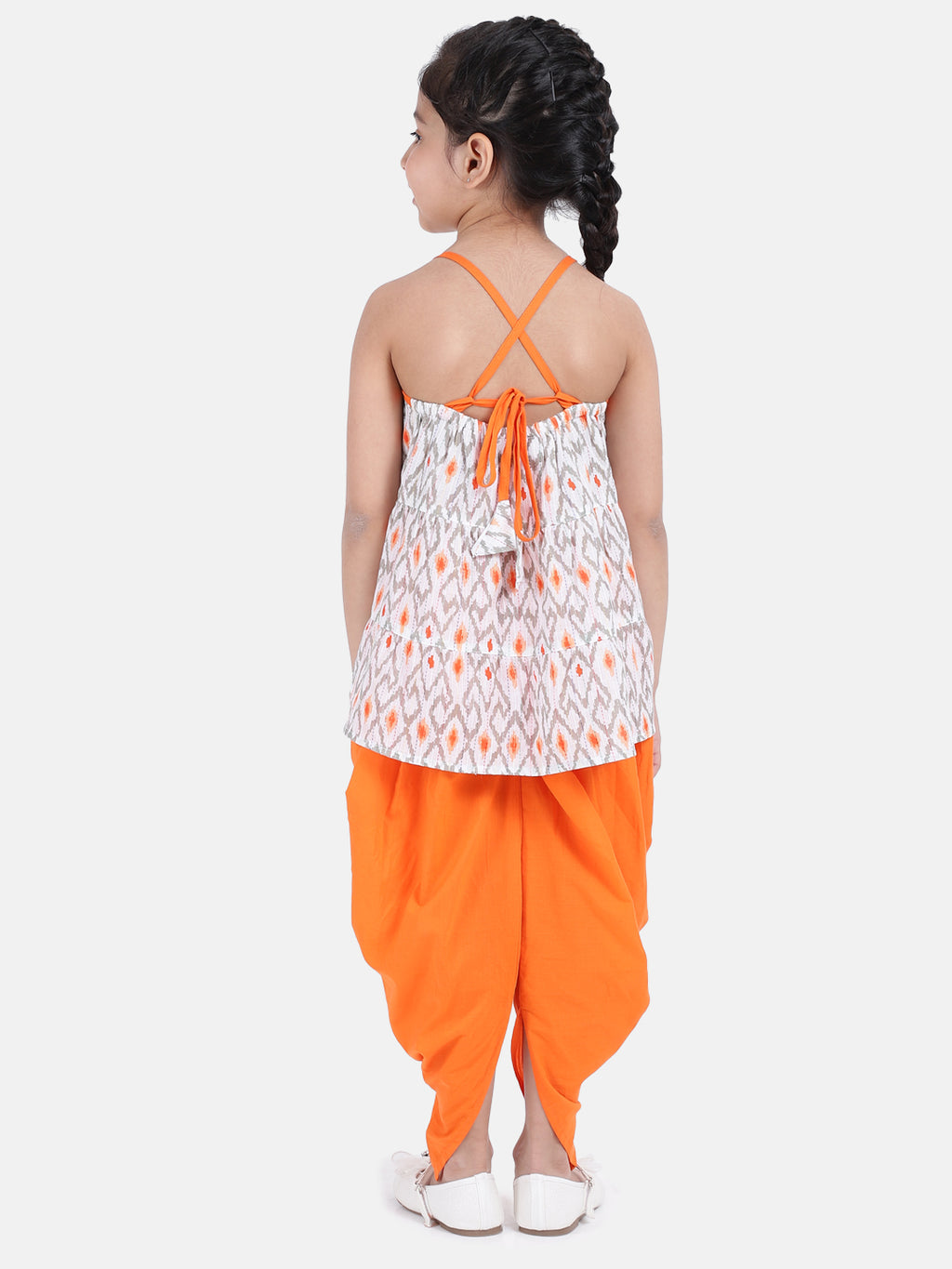 Cambric Cotton Halter Neck Top Dhoti For Girls-Orange