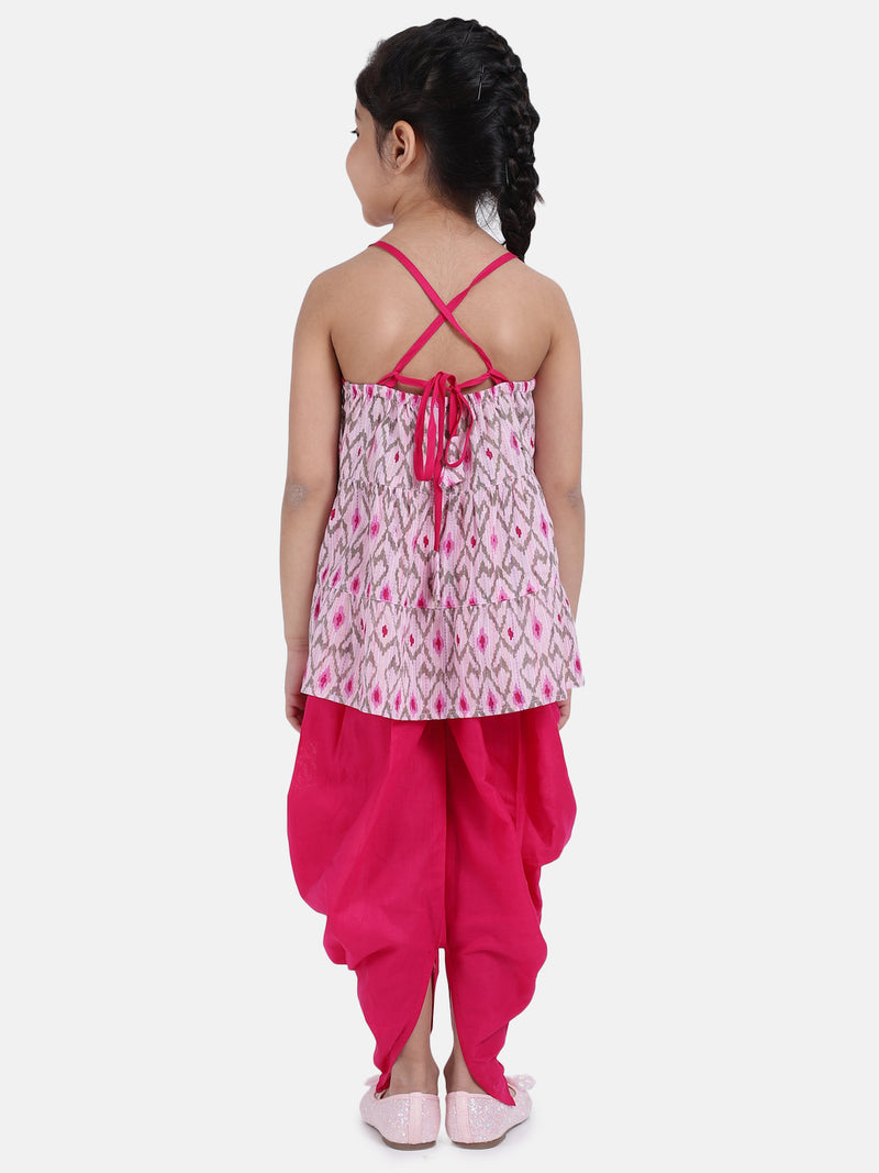 Cambric Cotton Halter Neck Top Dhoti For Girls-Pink