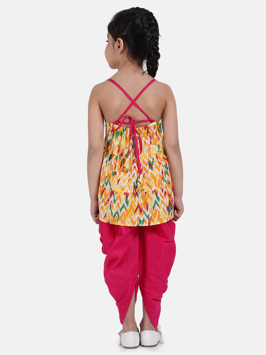 Cambric Cotton Halter Neck Top Dhoti For Girls-Yellow