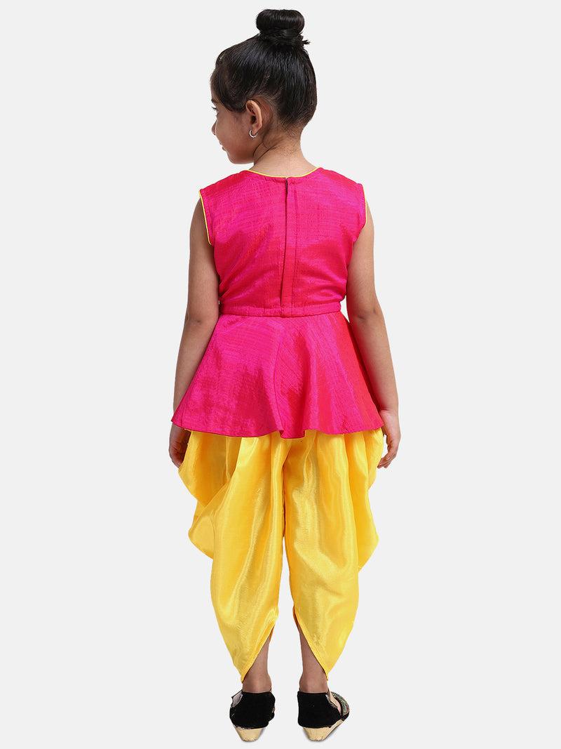 Lotus Embroidery Peplum Dhoti For Girls- Pink