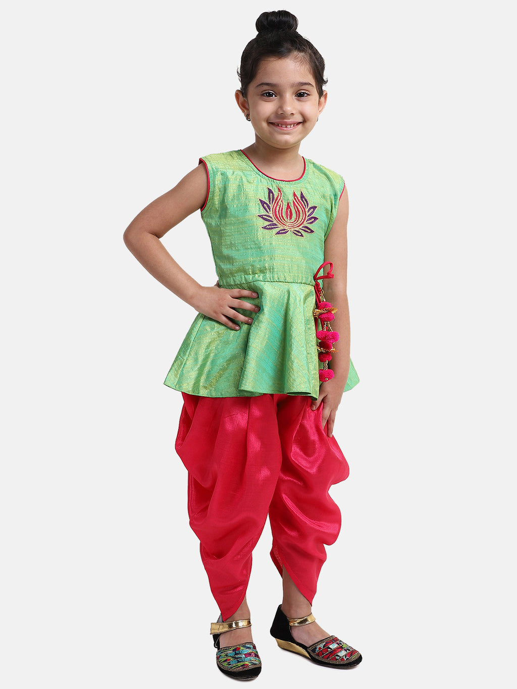 Lotus Embroidery Peplum Dhoti For Girls-Green