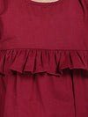 Ruffle Cotton Top With Harem Pant- Maroon