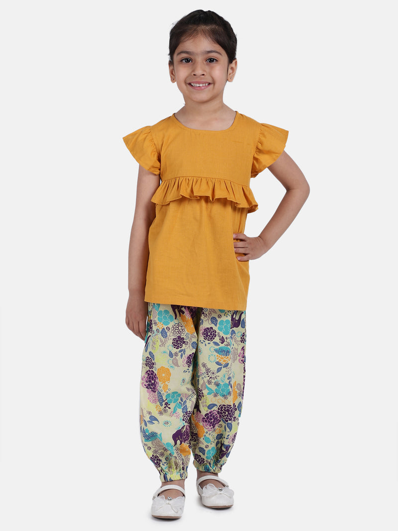 Ruffle Cotton Top With Harem Pant- Yellow