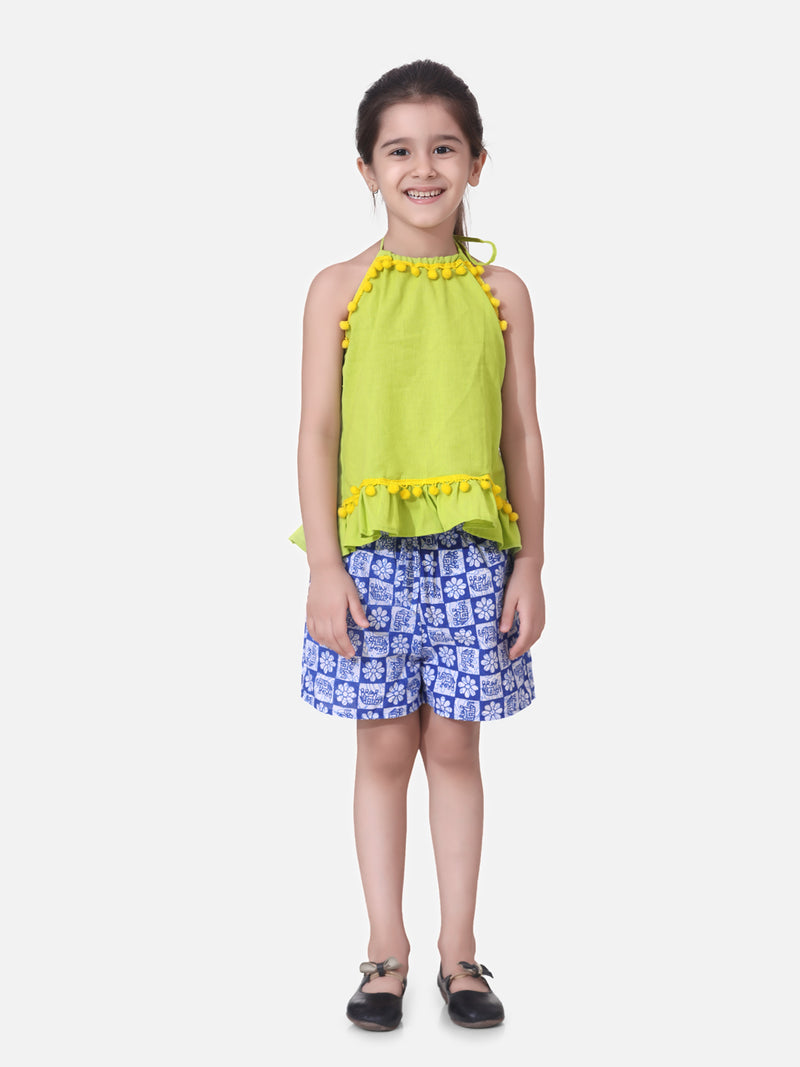 Pure Cotton Top With Printed Shorts- Green