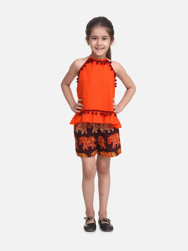 Pure Cotton Top With Printed Shorts- Orange