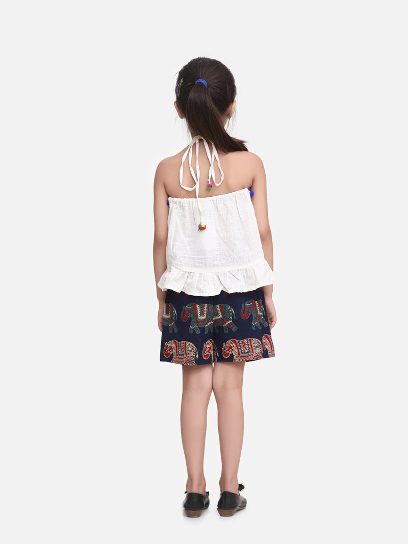 Pure Cotton Top With Printed Shorts- White