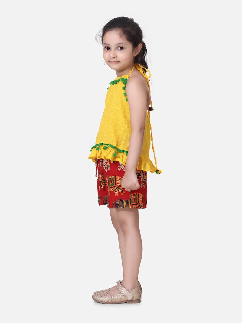 Pure Cotton Top With Printed Shorts- Yellow