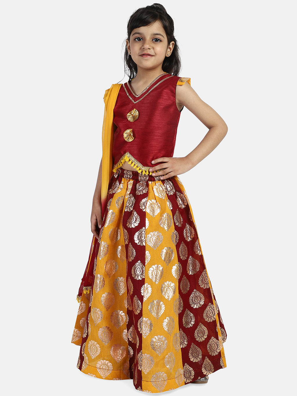 Foil Print Lehenga With Dupion Choli- Brown
