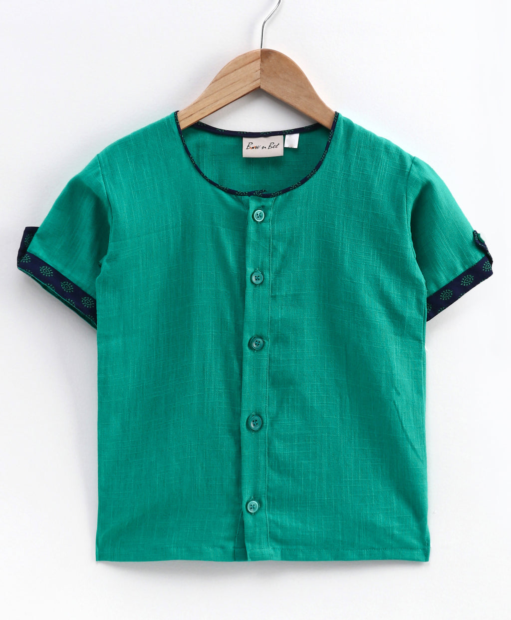 Cotton Half Sleeve Shirt For Baby Boys-Green