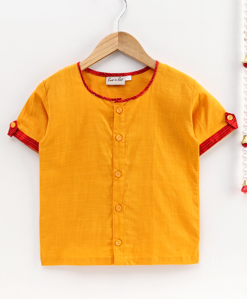 Cotton Half Sleeve Shirt For Baby Boys-Yellow