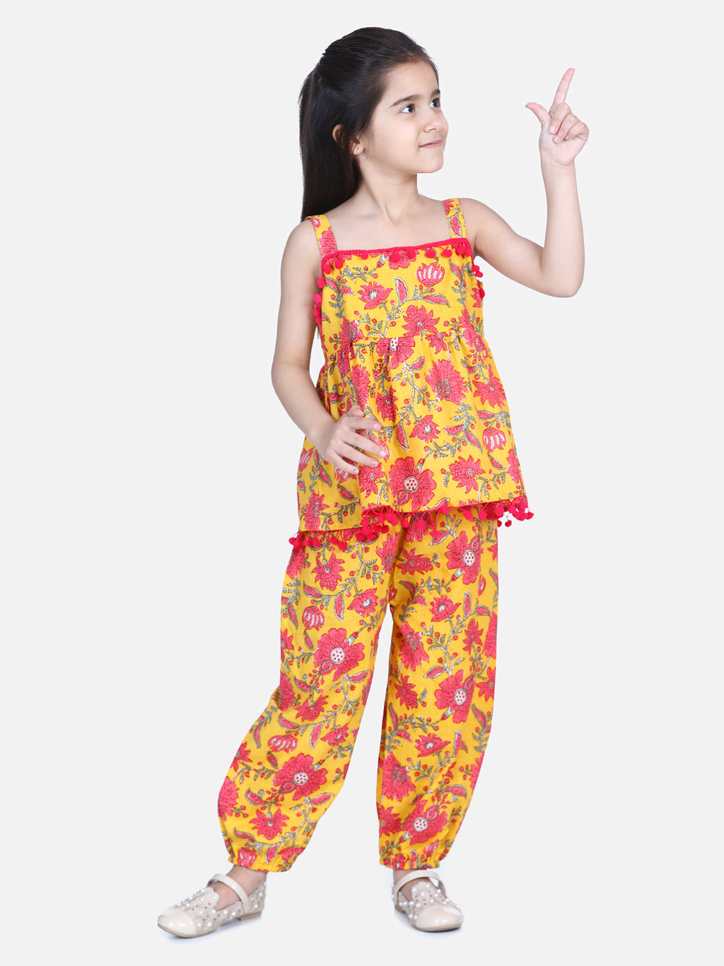 Floral Print Cotton Top Harem Set- Yellow