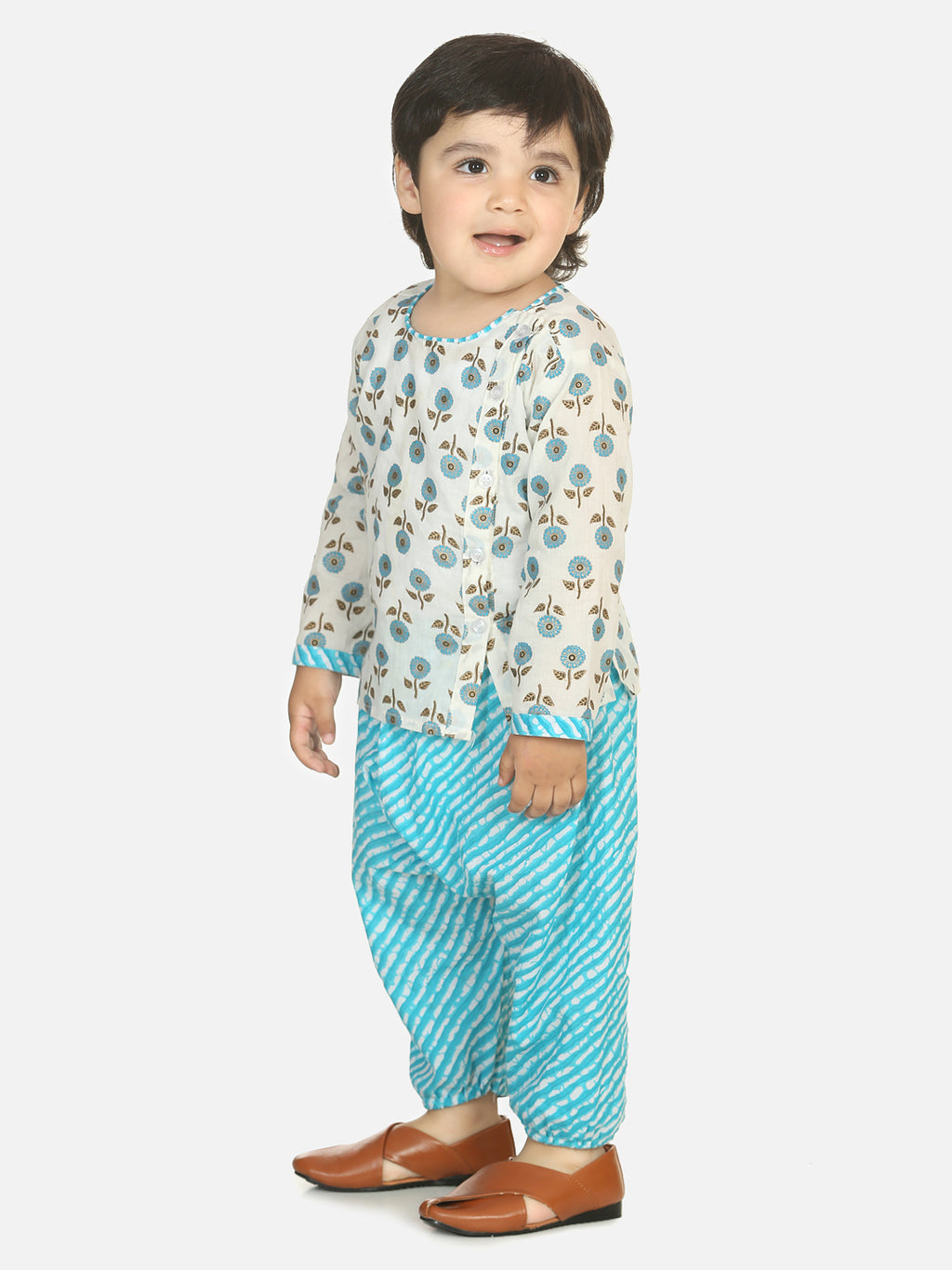 Front Open Cotton Kurta With Harem-Blue