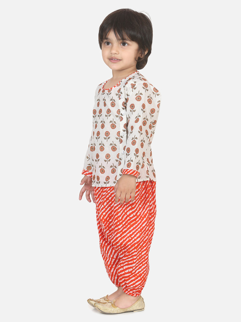 Front Open Cotton Kurta With Harem- Orange