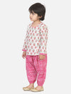 Front Open Cotton Kurta With Harem-Pink