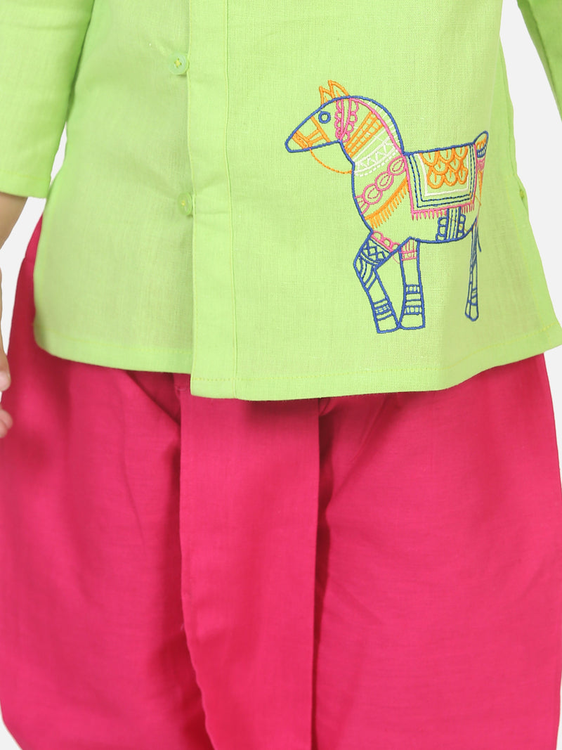 Horse embroidery front open dhoti kurta-Green