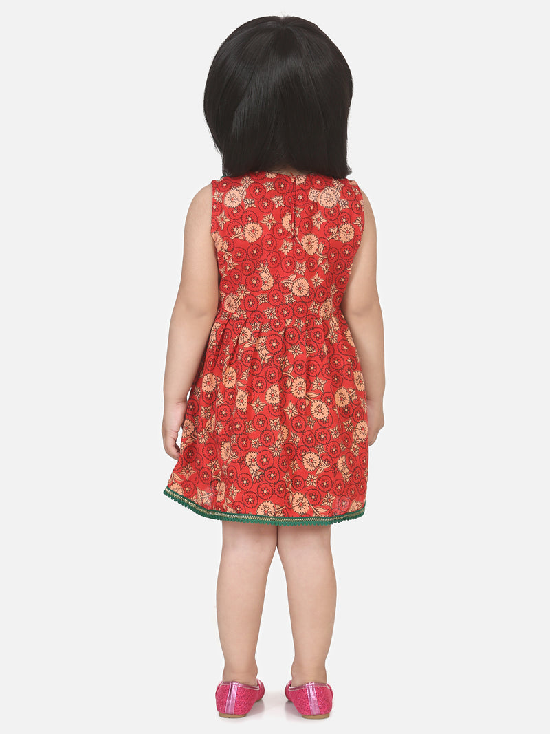 Round Patch Cotton Sleeveless Frock- Red