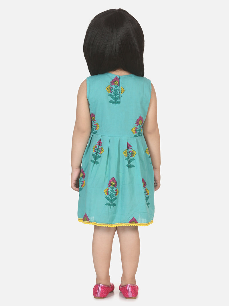 Round Patch Cotton Sleeveless Frock-Sky Blue