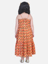 Chevron Dot Tier Halter Neck Gown- Orange