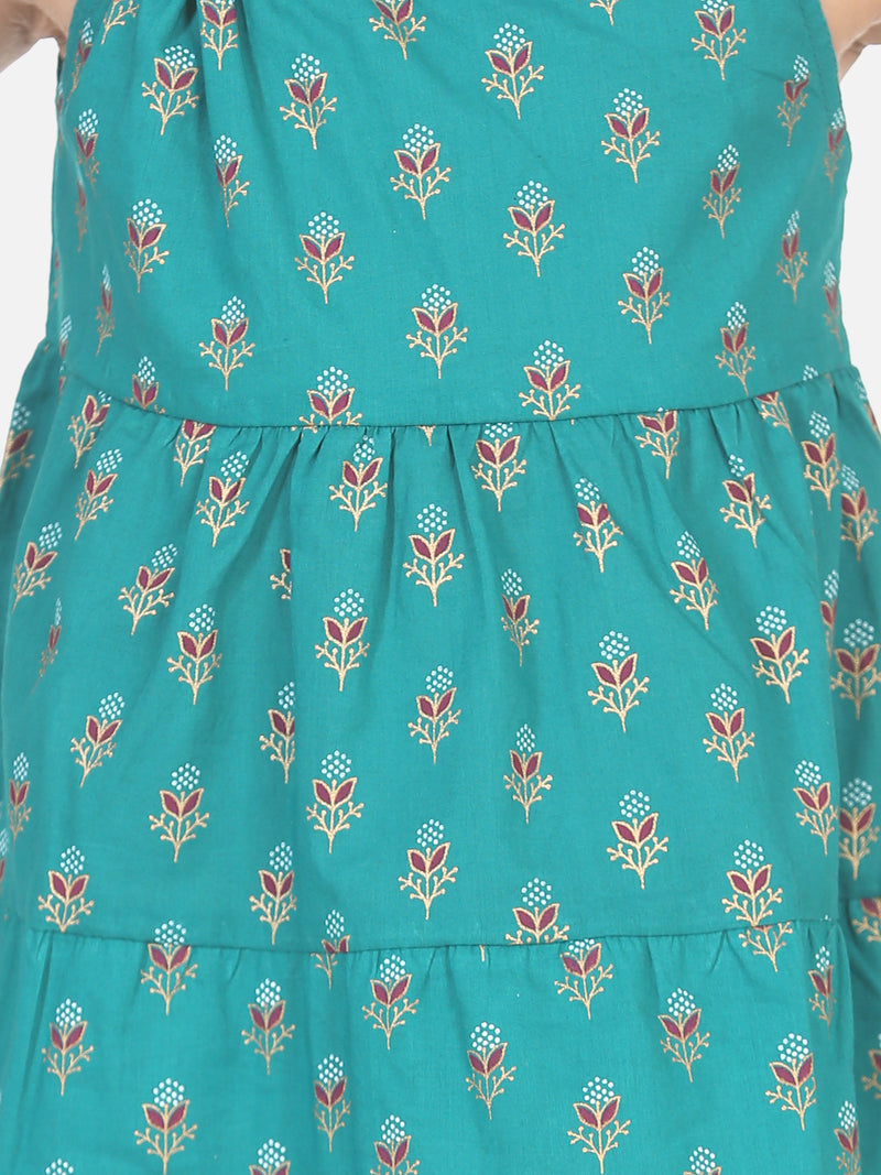 Block Print Tier Cotton Frock with Headband-Green