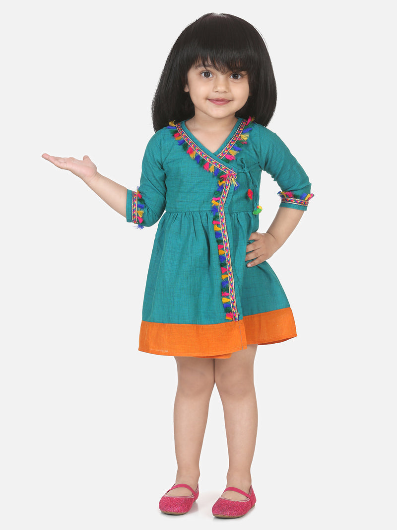 Cotton Front Open Full Sleeve Frock- Blue