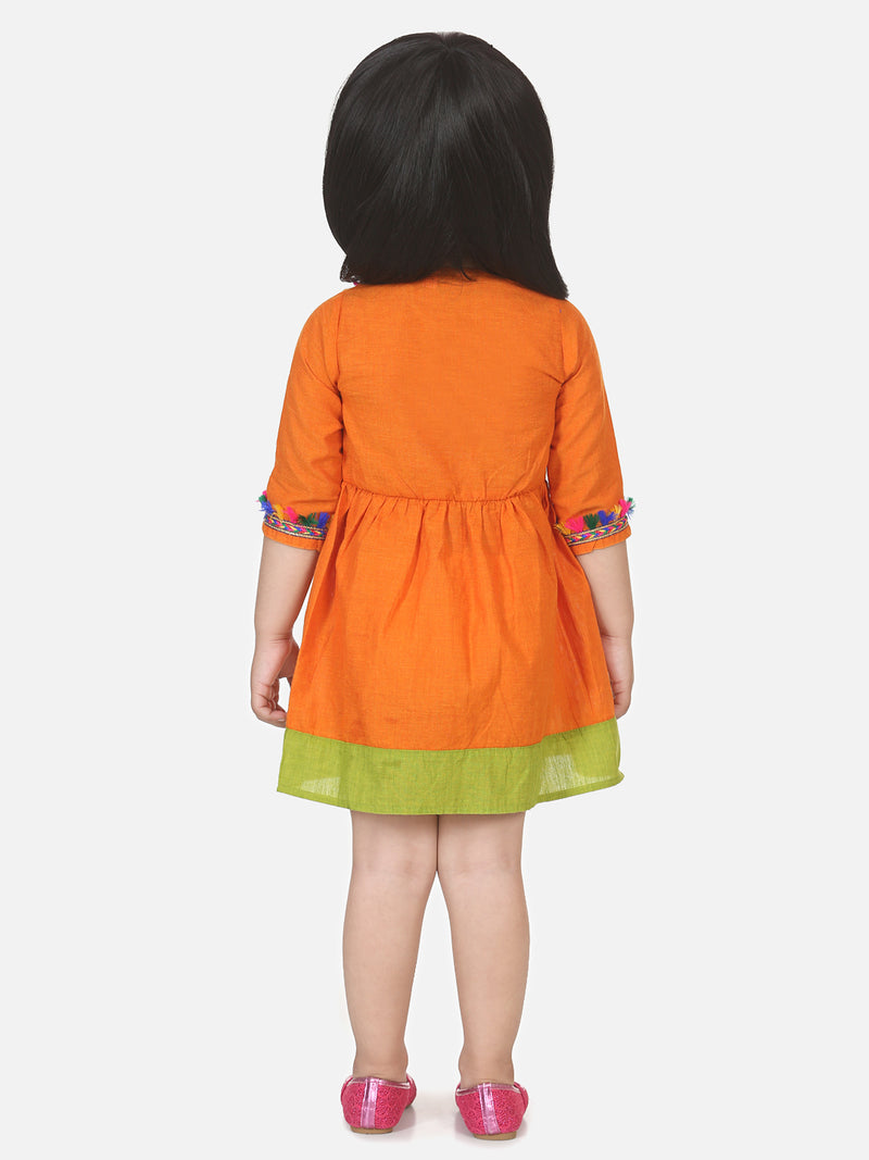 Cotton Front Open Full Sleeve Frock- Orange