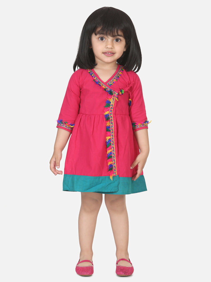 Cotton Front Open Full Sleeve Frock- Pink