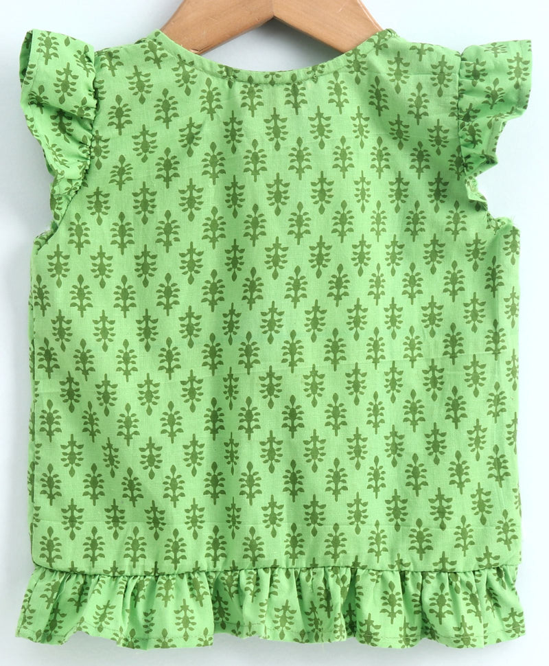 Cotton Front Open Frill Jhabla-Green