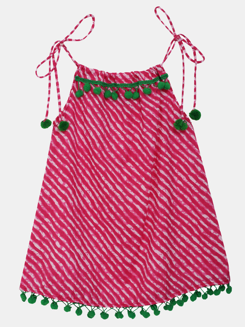 BownBee Infant Adjustable Cotton Jhabla Set of 2--Pink Green
