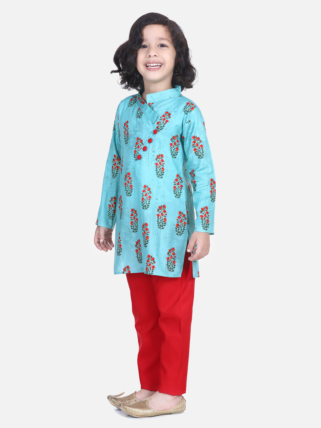 Floral Print Cotton Kurta Pajama- Green