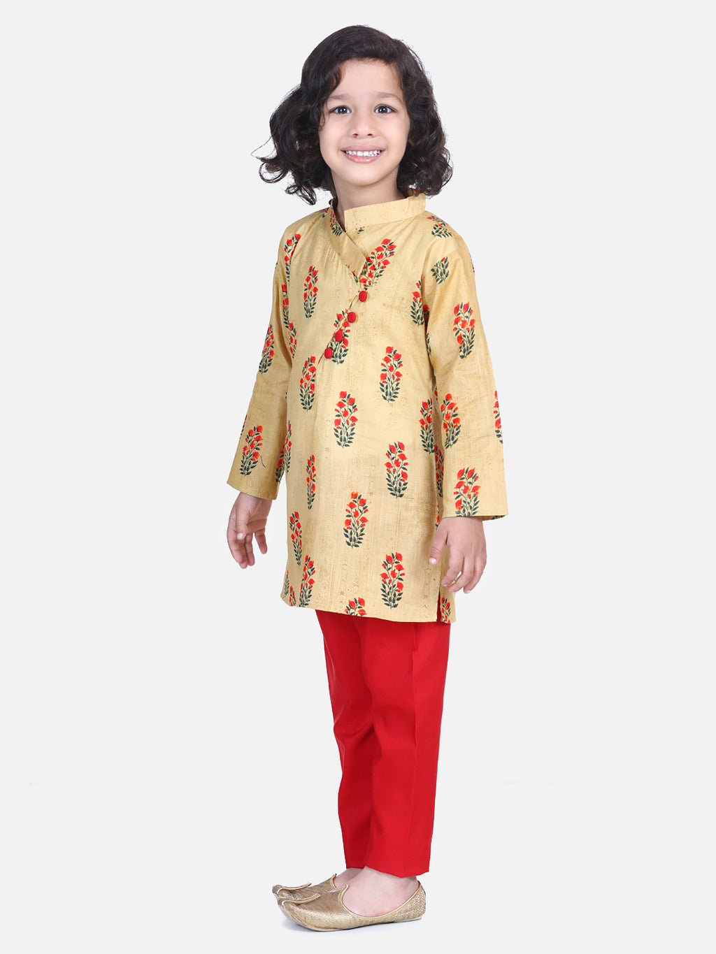 Floral Print Cotton Kurta Pajama- Yellow