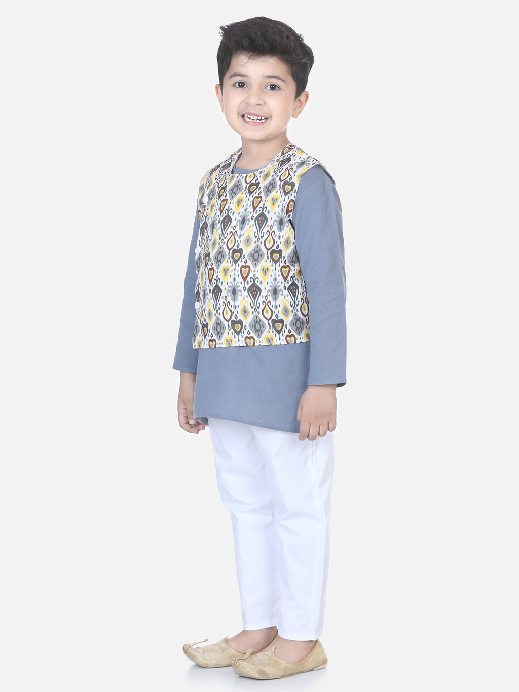 Printed Jacket Kurta Pajama Set-Gray