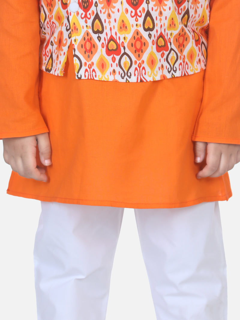 Printed Jacket Kurta Pajama Set-Orange