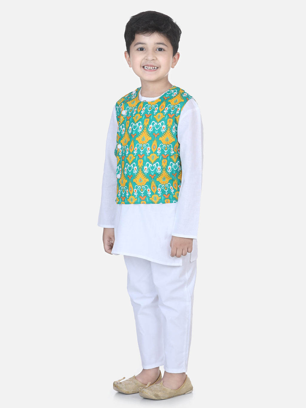 Printed Jacket Kurta Pajama Set-White