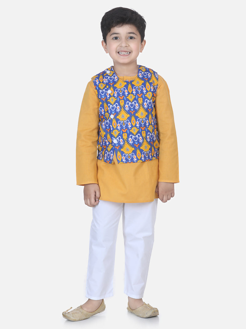 Printed Jacket Kurta Pajama Set- Yellow