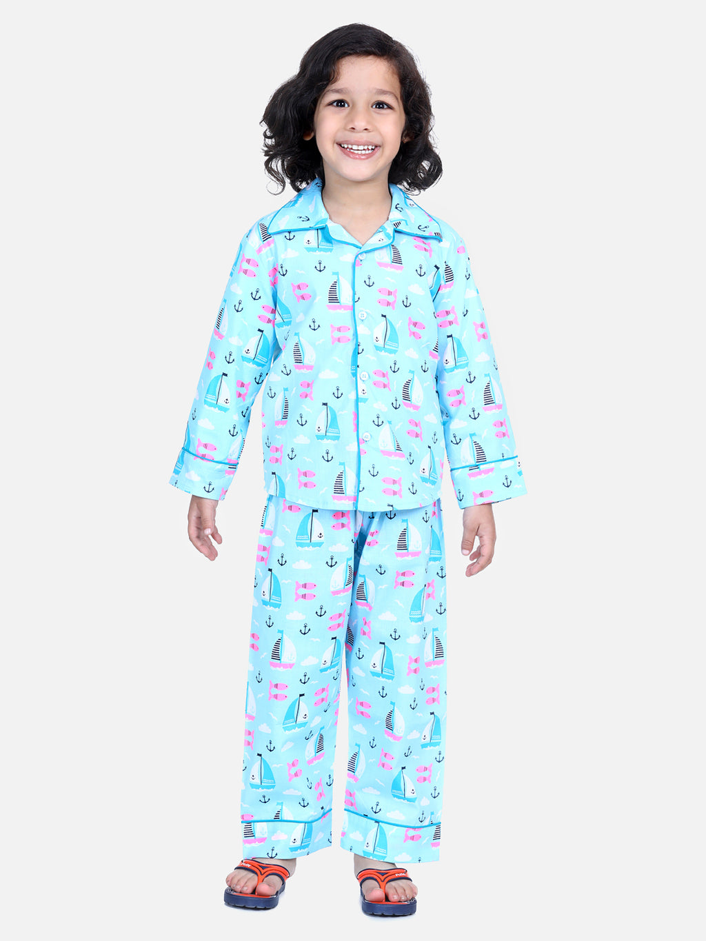 Full Sleeve Printed Boys Night Suit- BLue