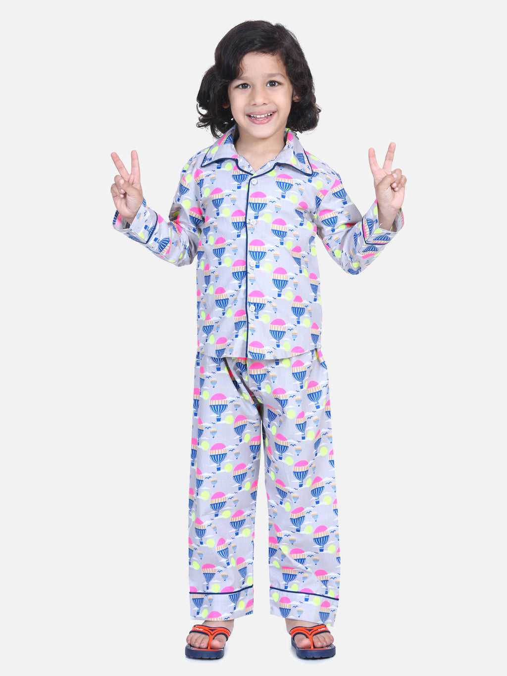 Full Sleeve Printed Boys Night Suit- Multi