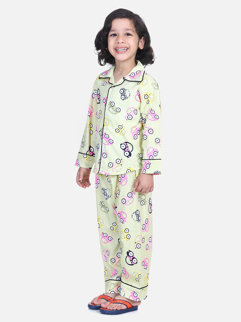Full Sleeve Printed Boys Night Suit- Yellow