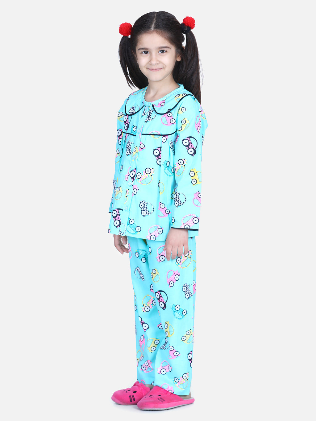 Full Sleeve Printed Girls Night Suit- Blue
