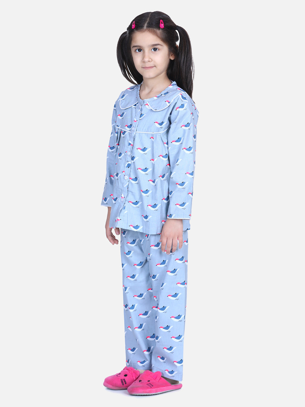 Full Sleeve Printed Girls Night Suit- Gray