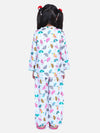 Full Sleeve Printed Girls Night Suit- White