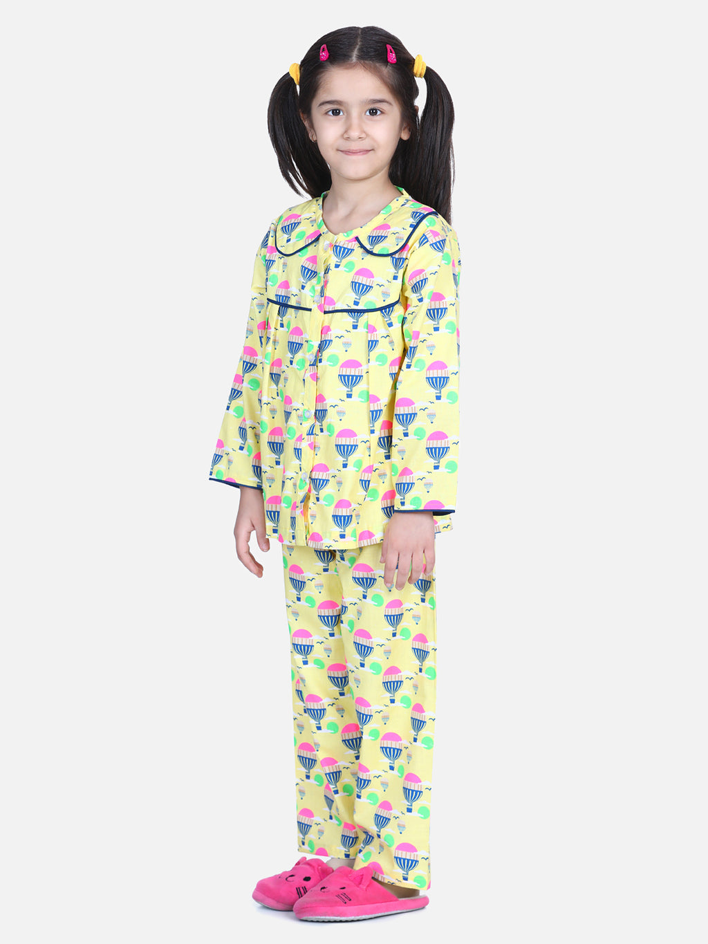 Full Sleeve Printed Girls Night Suit- Yellow