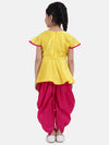 Lotus Embroidery Peplum Dhoti For Girls- Yellow