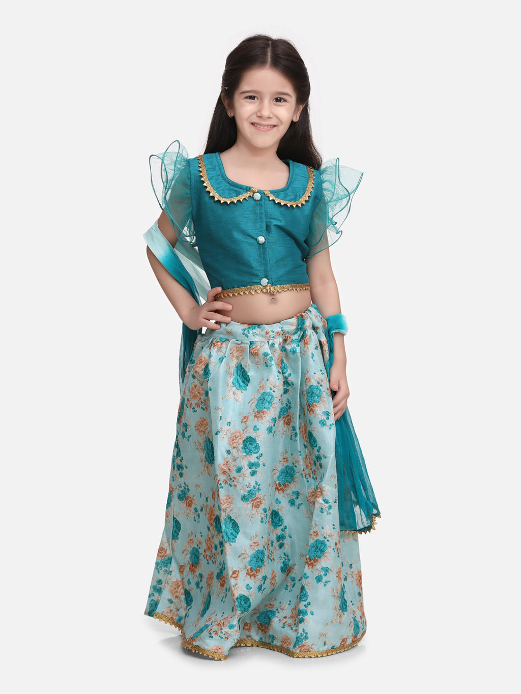 Ruffle Sleeve Collar Choli With Floral Lehenga- Green