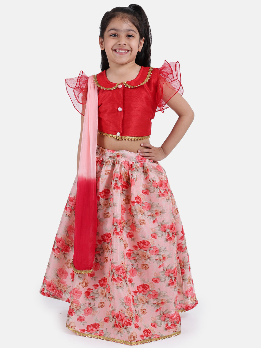Ruffle Sleeve Collar Choli With Floral Lehenga-Red