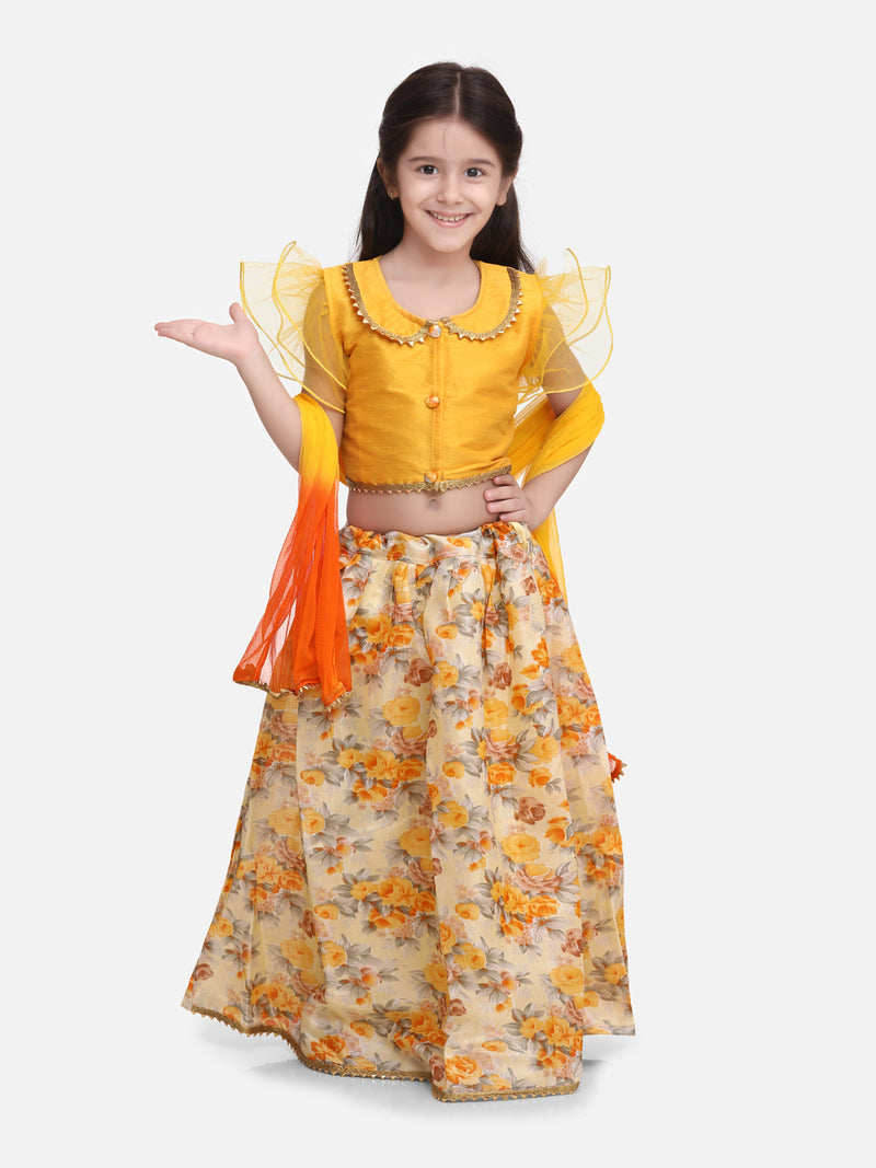 Ruffle Sleeve Collar Choli With Floral Lehenga- Yellow