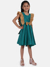 Sequin Frill Silk Party Frock- Green