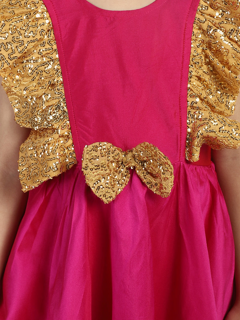 Sequin Frill Silk Party Frock- Pink