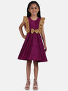 Sequin Frill Silk Party Frock- Purple