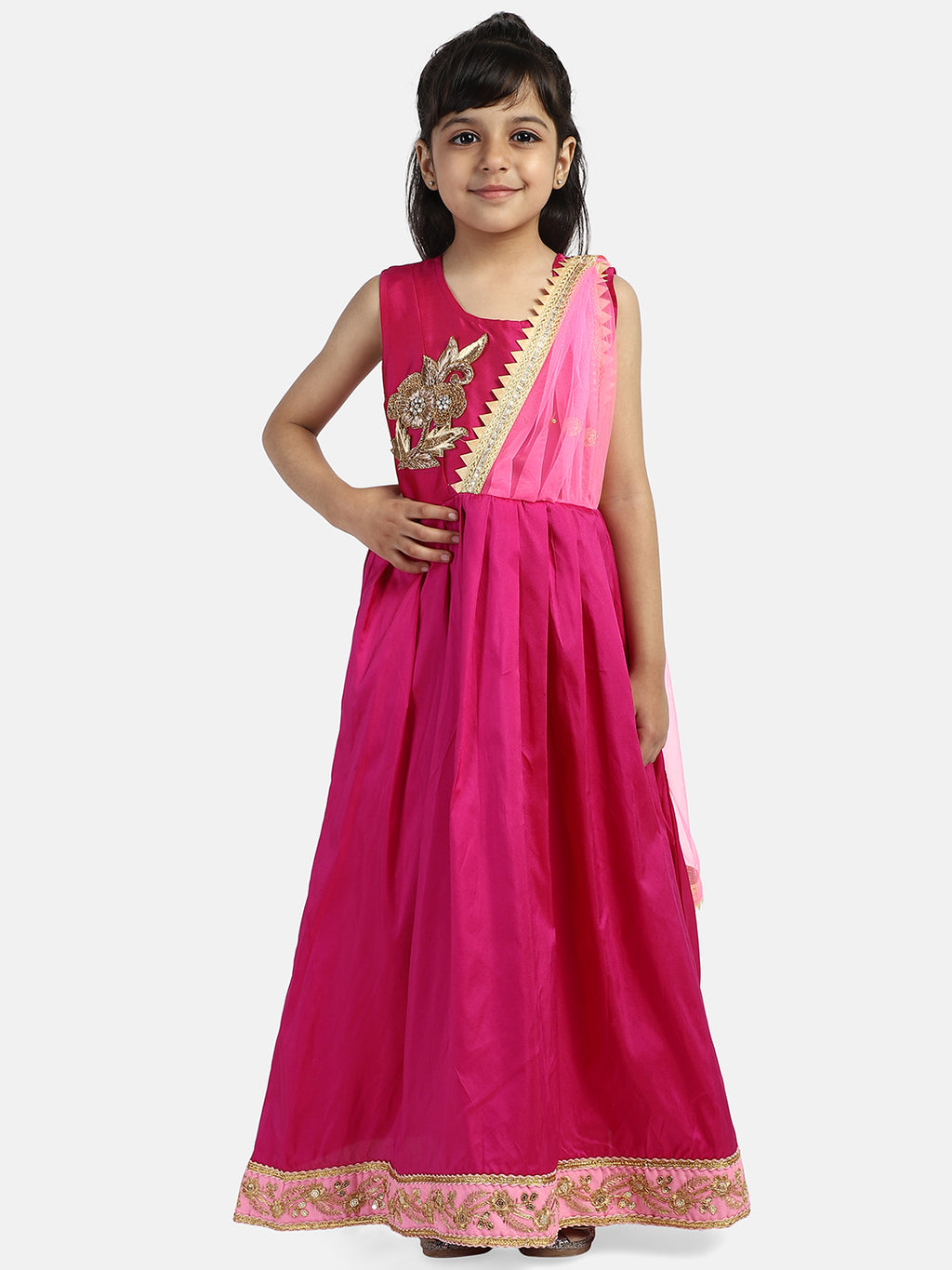 Ruffle Sleeve Taffeta Silk Party Gown- Pink