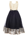 Classic Net Party Gown For Girls- Black